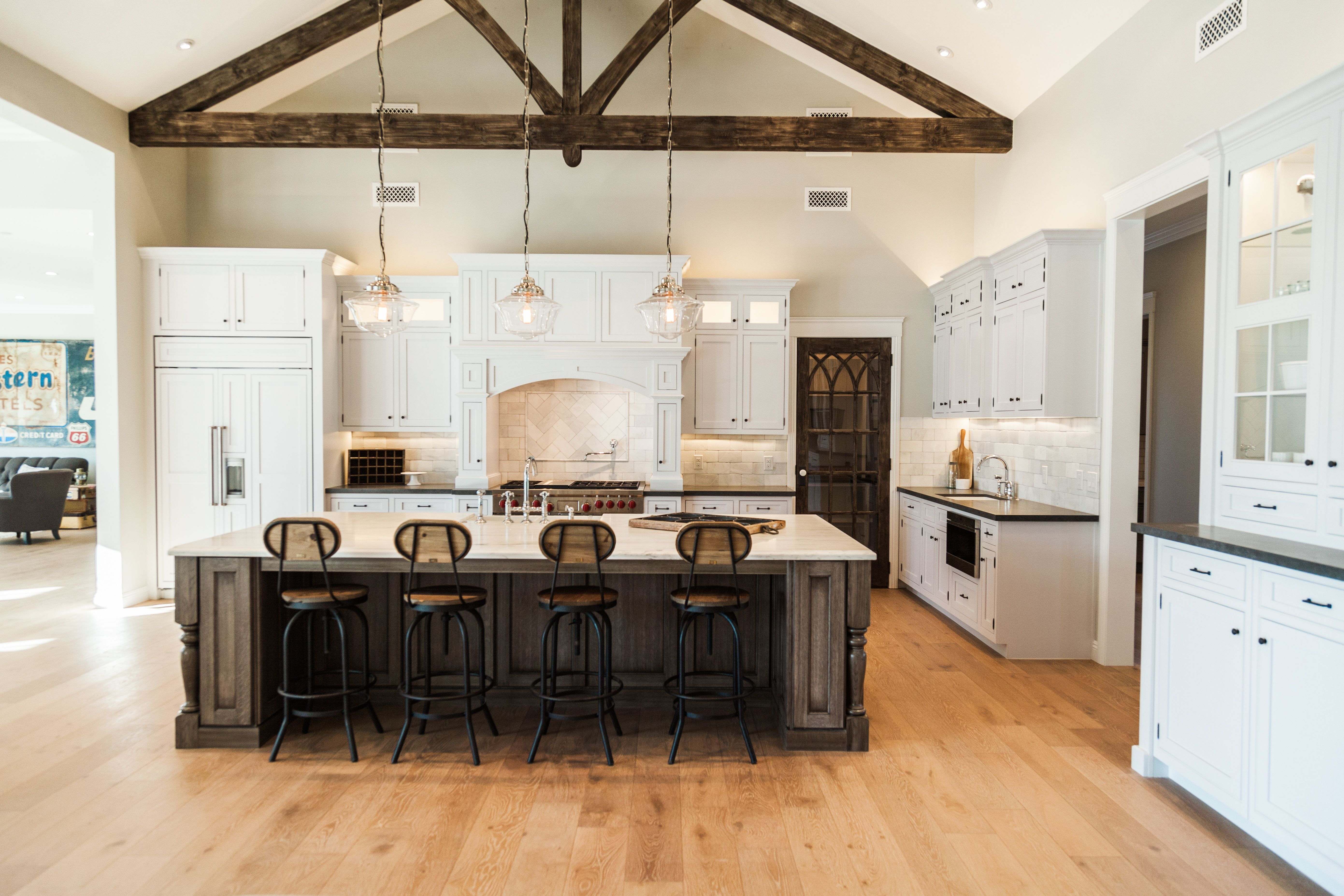 open kitchen concept with exposed decorative beam detail by rafterhouse farmhouse kitchen on kitchen remodel modern farmhouse id=70701