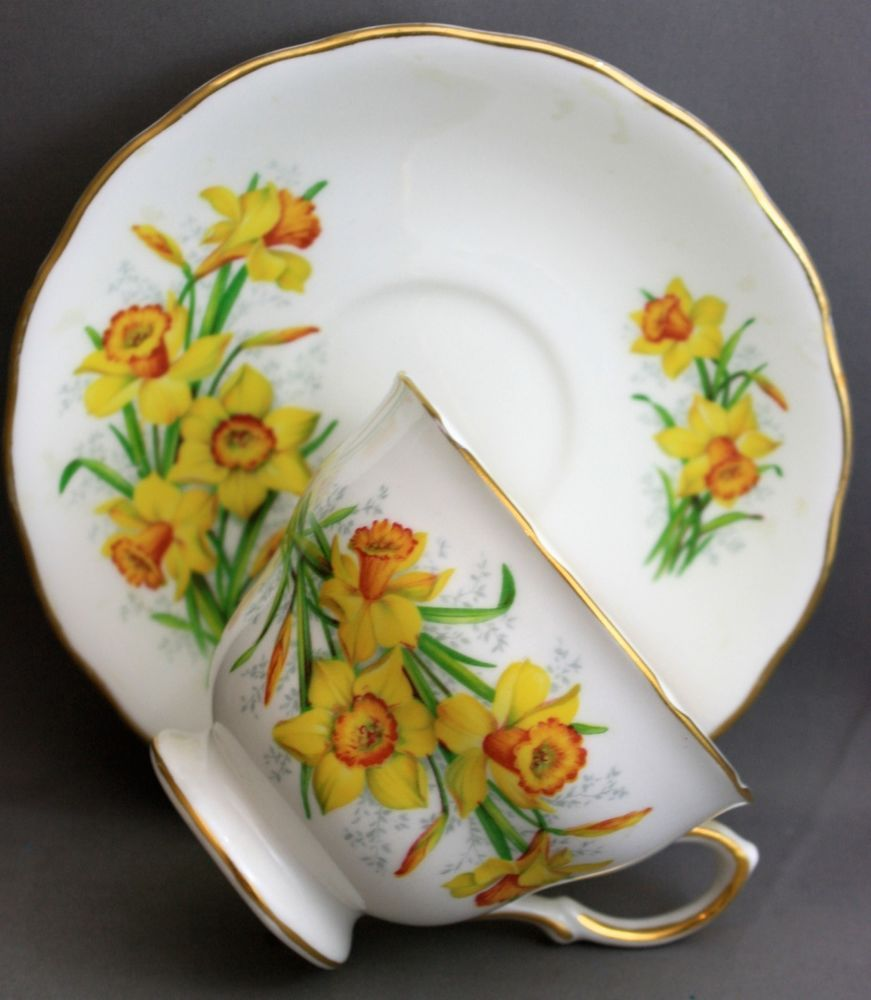 ROYAL VALE TEACUP & SAUCER-DAFFODILS  I 297