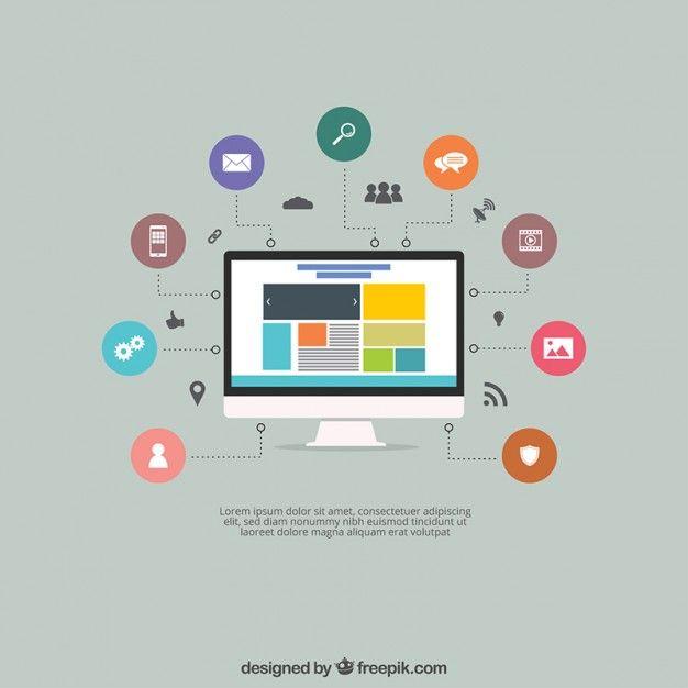 Baixe Tela Com Um Site E ícones gratuitamente Web