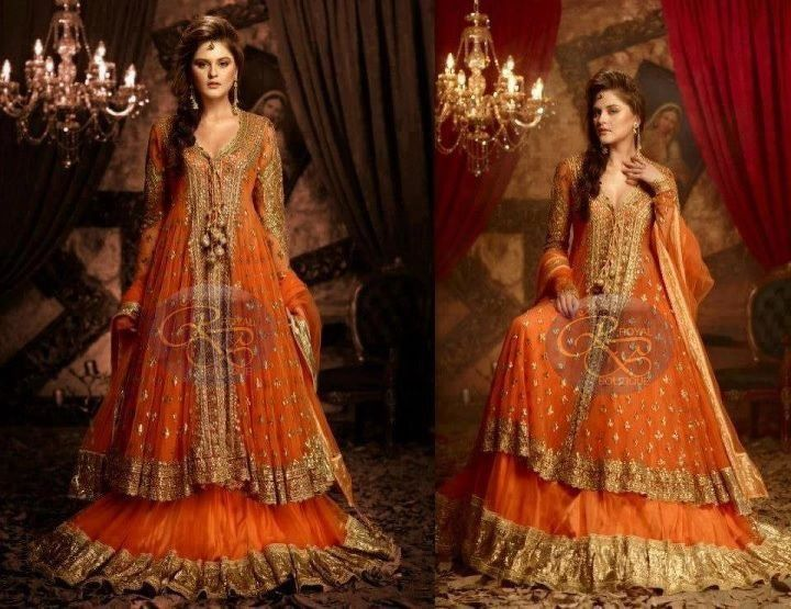 33ef0e44c4 Burnt orange bridal dress | indian wedding | Bridal mehndi dresses ...