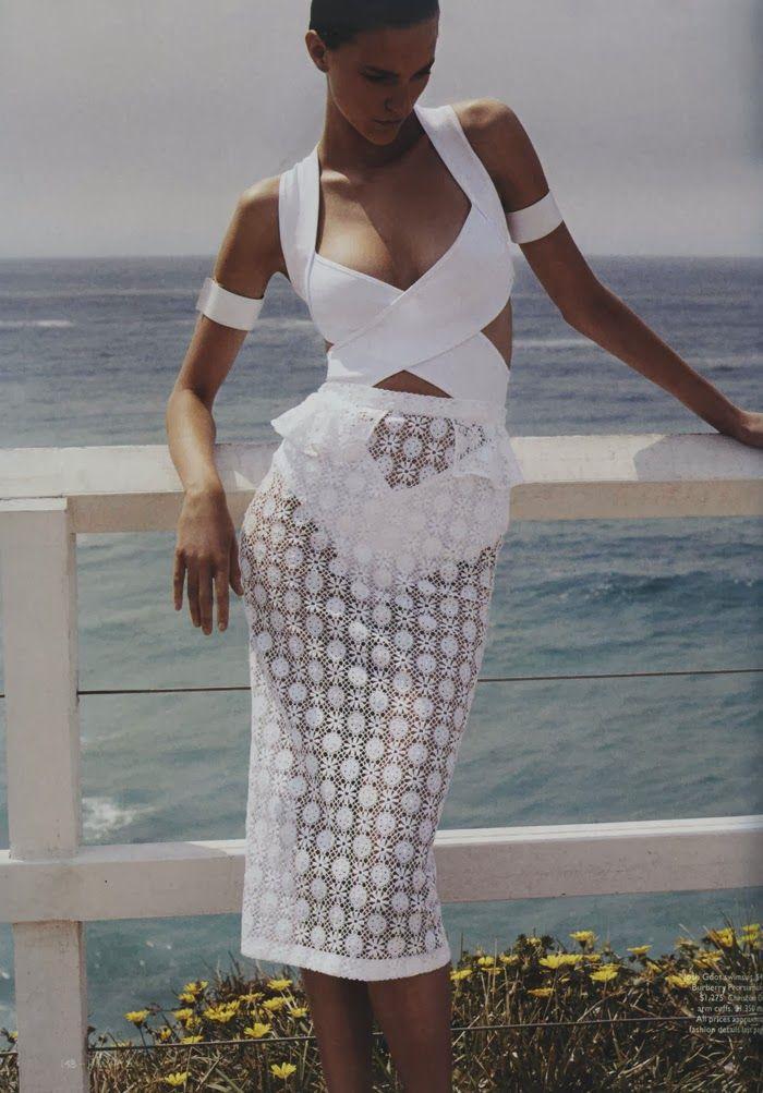 Josh Goot Swimsuit -- Burberry Prorsum Skirt -- Photographer: Benny Horne for Vogue Australia January 2014 -- Model: Nicole Pollard