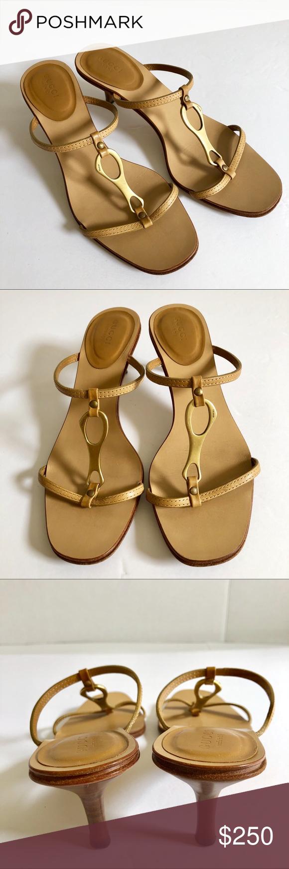 b2db4e20157 Gucci Leather Strappy Sandal Wooden Kitten Heel Gucci Women's ...
