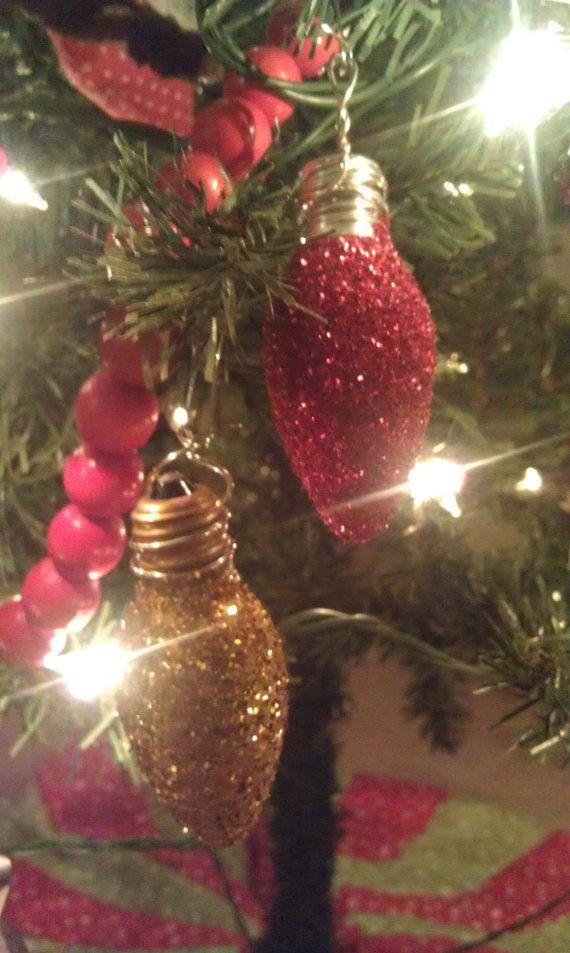 Christmas Light Bulb UpCycled Glitter Ornament by OwlFutt on Etsy