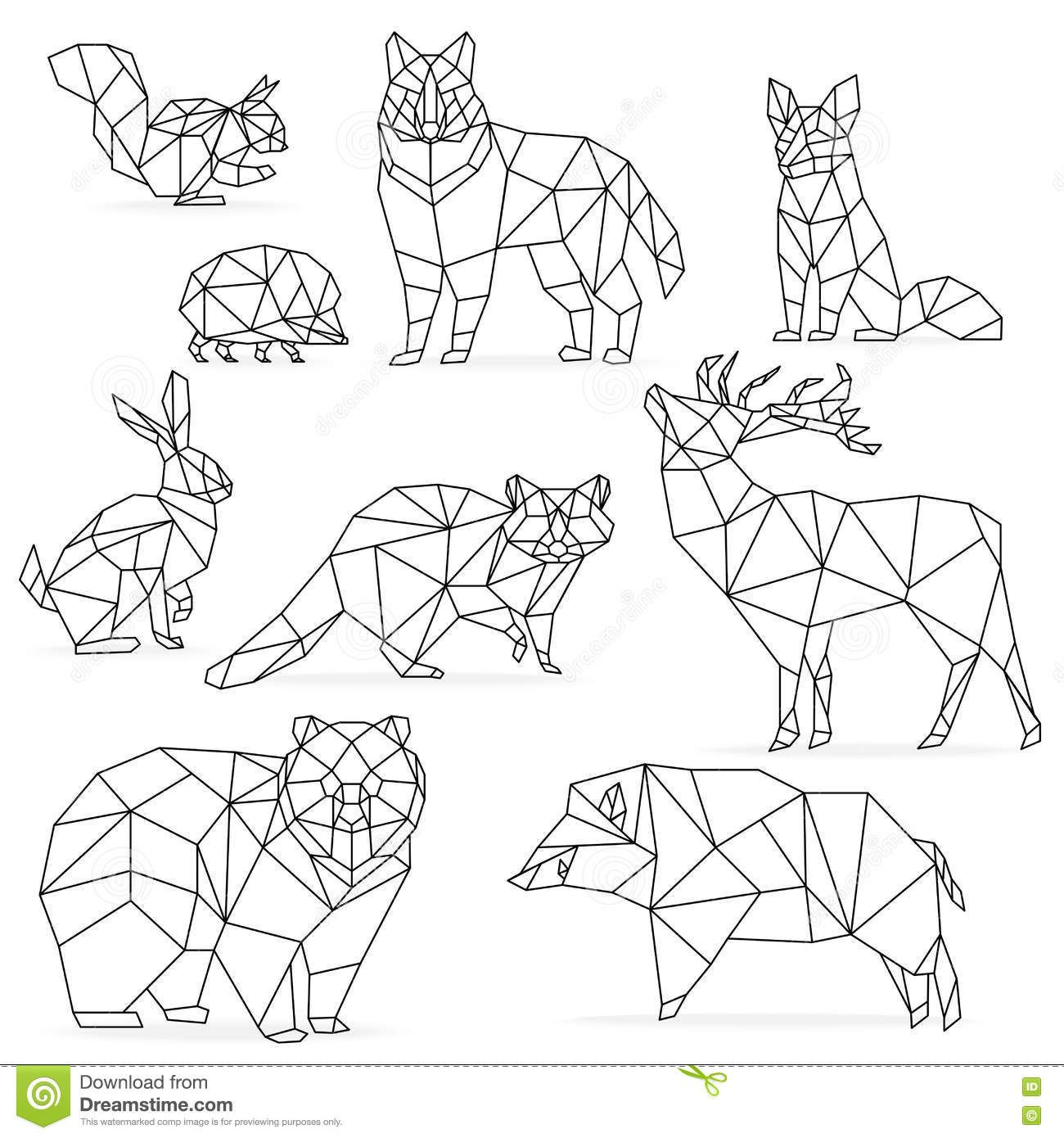 Low Poly Line Animals Set Origami Poligonal Line Animals