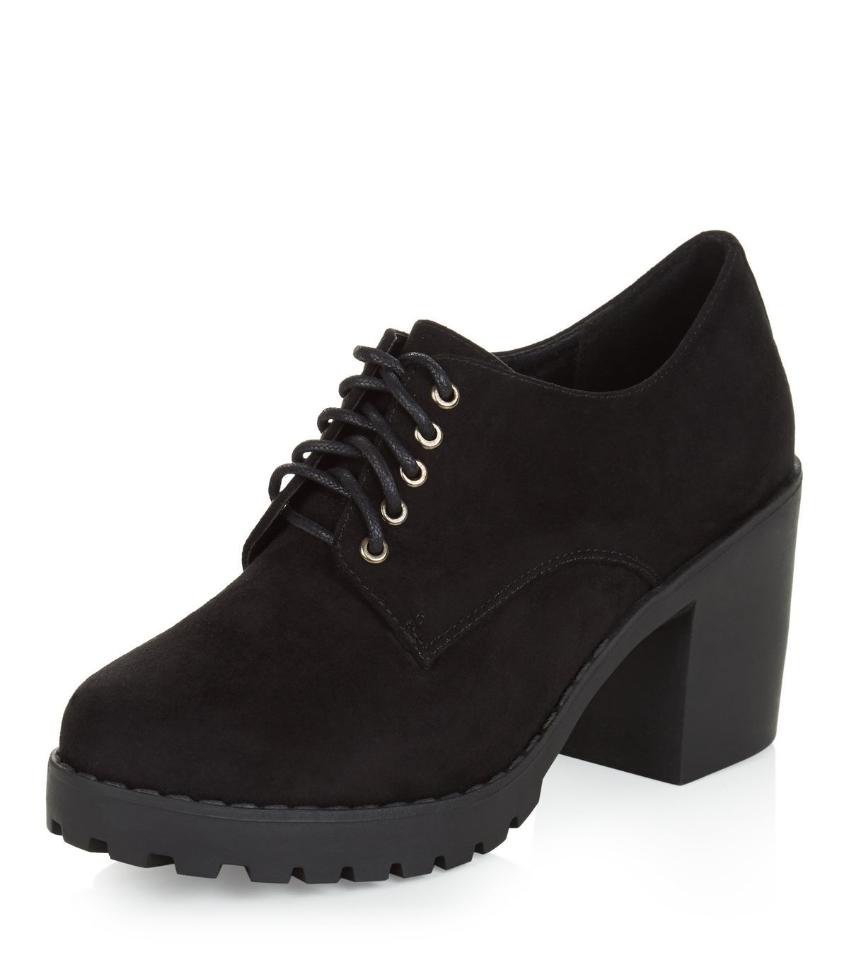 f8e1da8af21f Teens Black Lace Up Block Heel Shoe Boots
