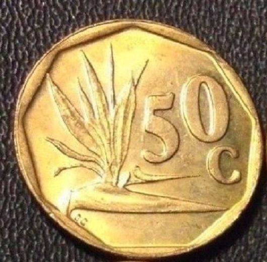 1994 South Africa (Suid Afrika) 50c Coin - Bird of Paradise Plant Engraving - AU