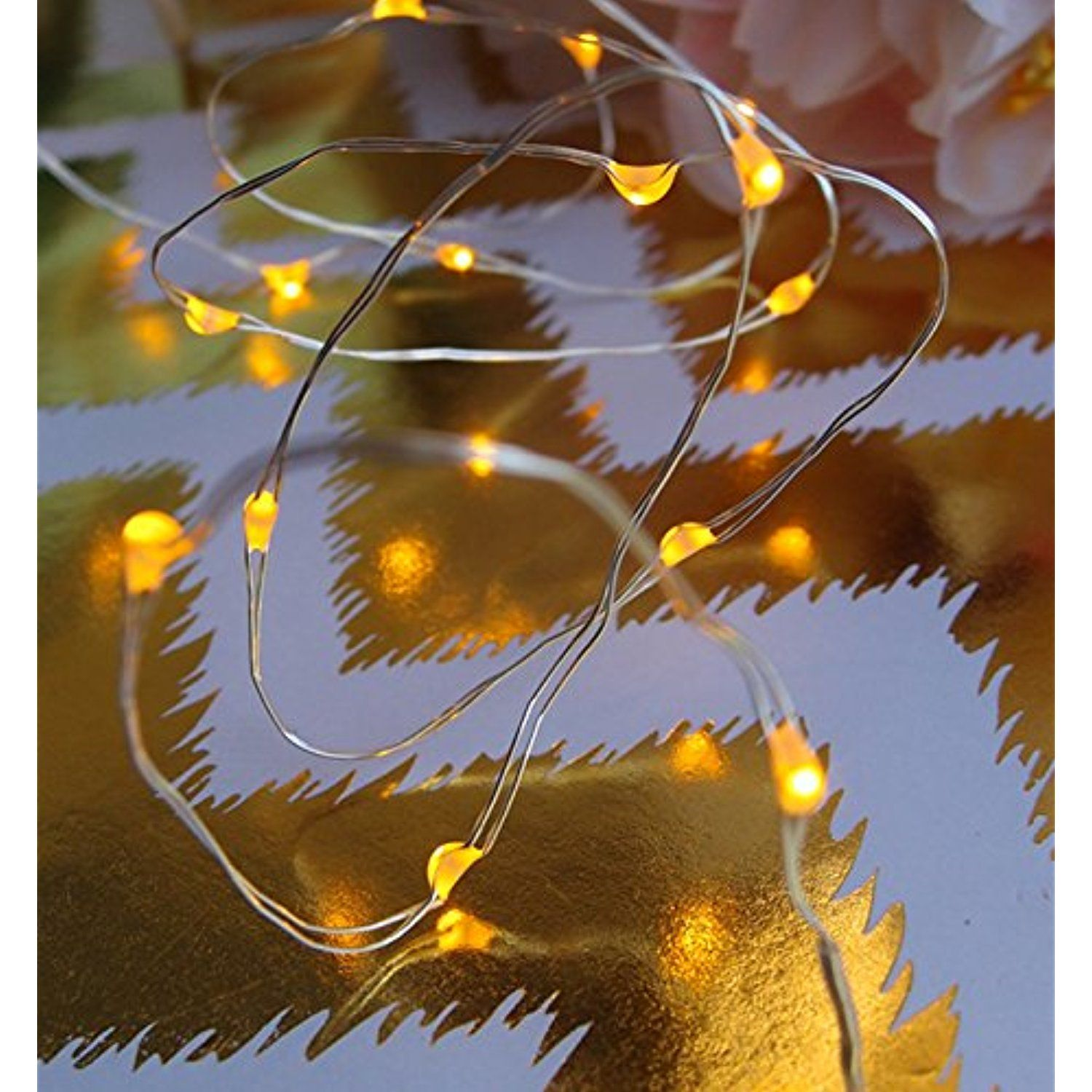 Fantado 20 Amber LED Micro Fairy String Lights, Wire (6ft, Battery ...