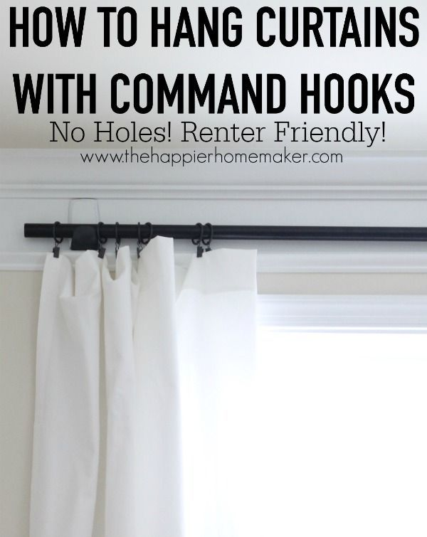 How To Hang Curtains Using Command Hooks Curtains Without Holes Hanging Curtains Rental