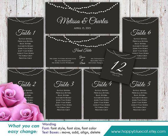 DiY Printable Wedding Seating Chart Template By HappyBlueCat DIY - Wedding invitation templates: seating chart template wedding