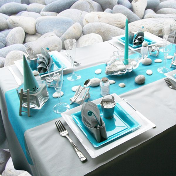 Beach Themed Party Table Decor Turquoise Table Runner Tableware Great Ideas