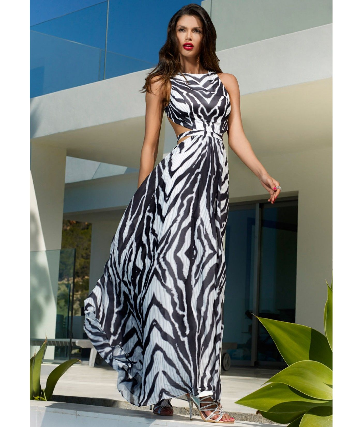 AMETHYST - Zebra print maxi dress with side and back cut out detail ...