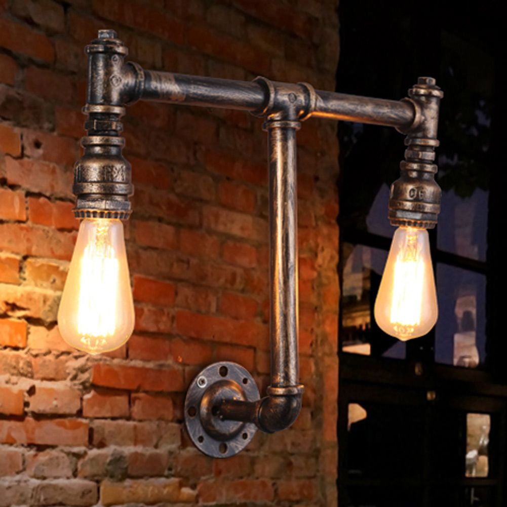 E26/E27 Edison Wall Lamp Ancient Water Pipe Sconce American Vintage ...