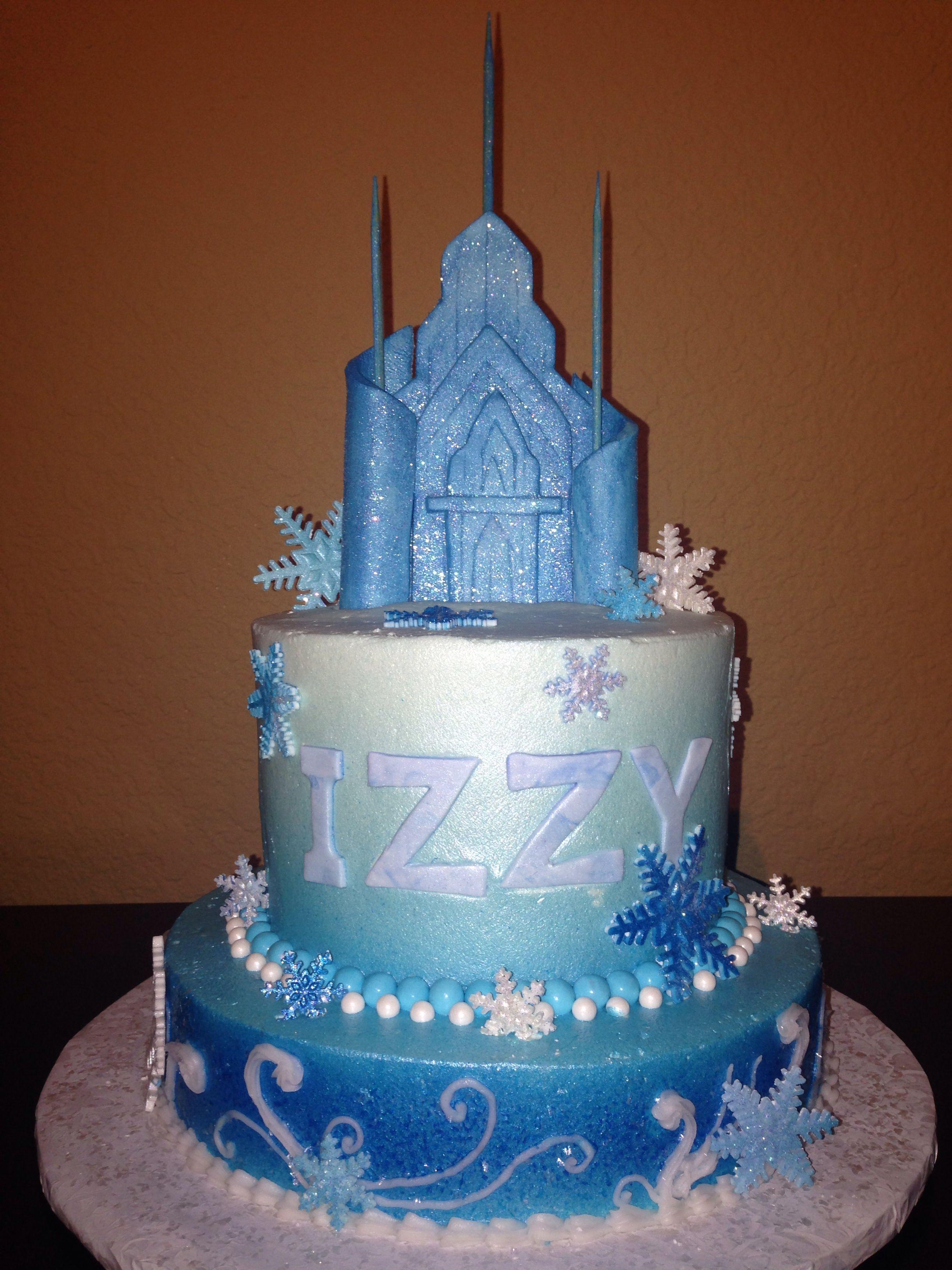 Frozen Cake With Fondant Ice Castle Birthday Cake