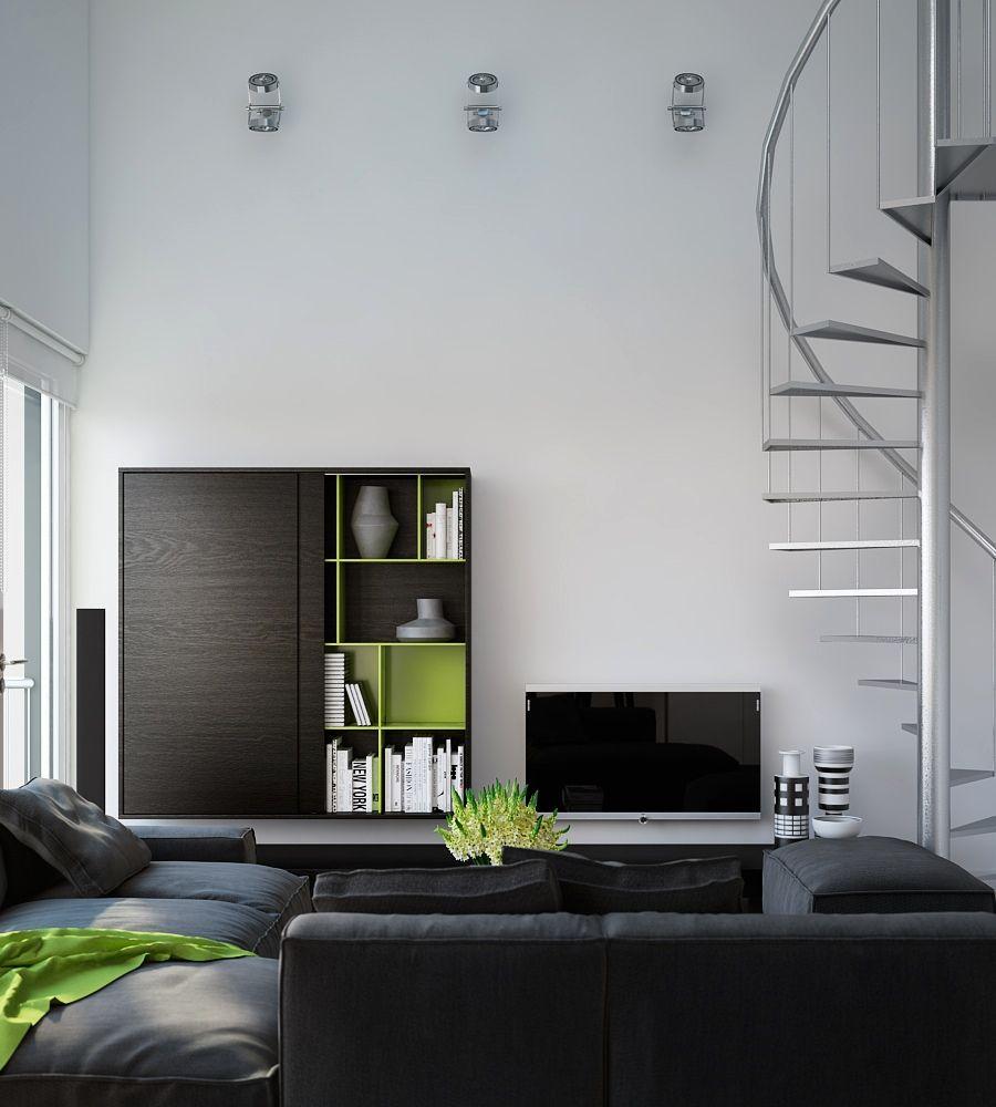 51 Modern Living Room Design From Talented Architects: Triple D- Modern Monochrome Green Apartment Living Modular