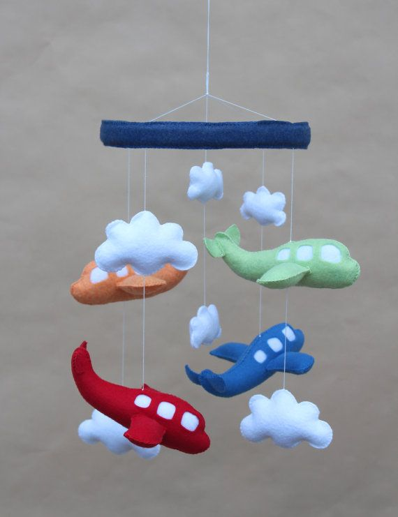 Baby Crib Mobile Airplane Baby Mobile Red Green by LoveAllDesigns