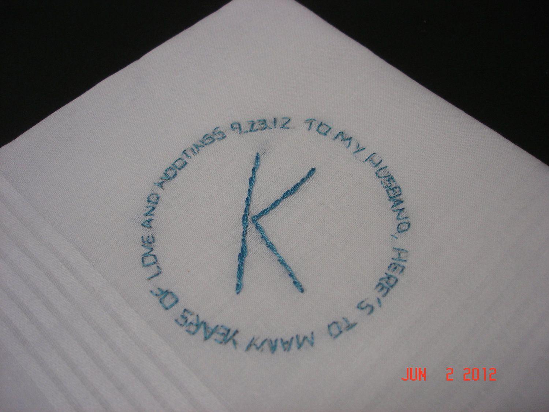 Wedding Handkerchief Bride To Groom Message In A Circle Monogram