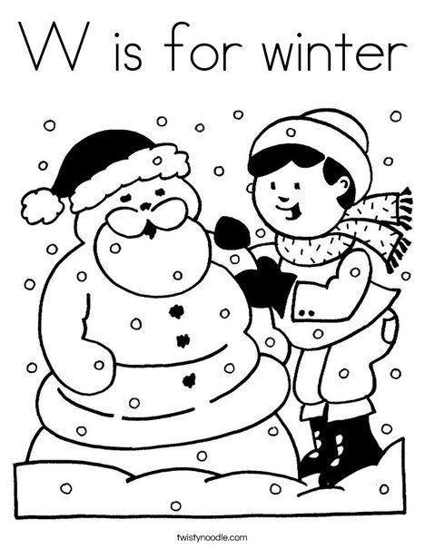 W Is For Winter Coloring Sheet