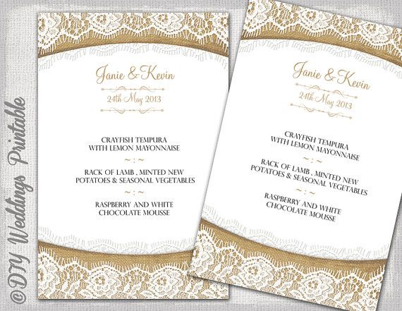 rustic wedding menu template burlap lace wedding menu diy ecru