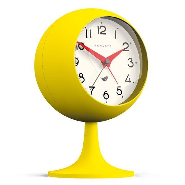 newgate dome ii alarm clock citrus yellow modern desk clock - Designer Desk Clock