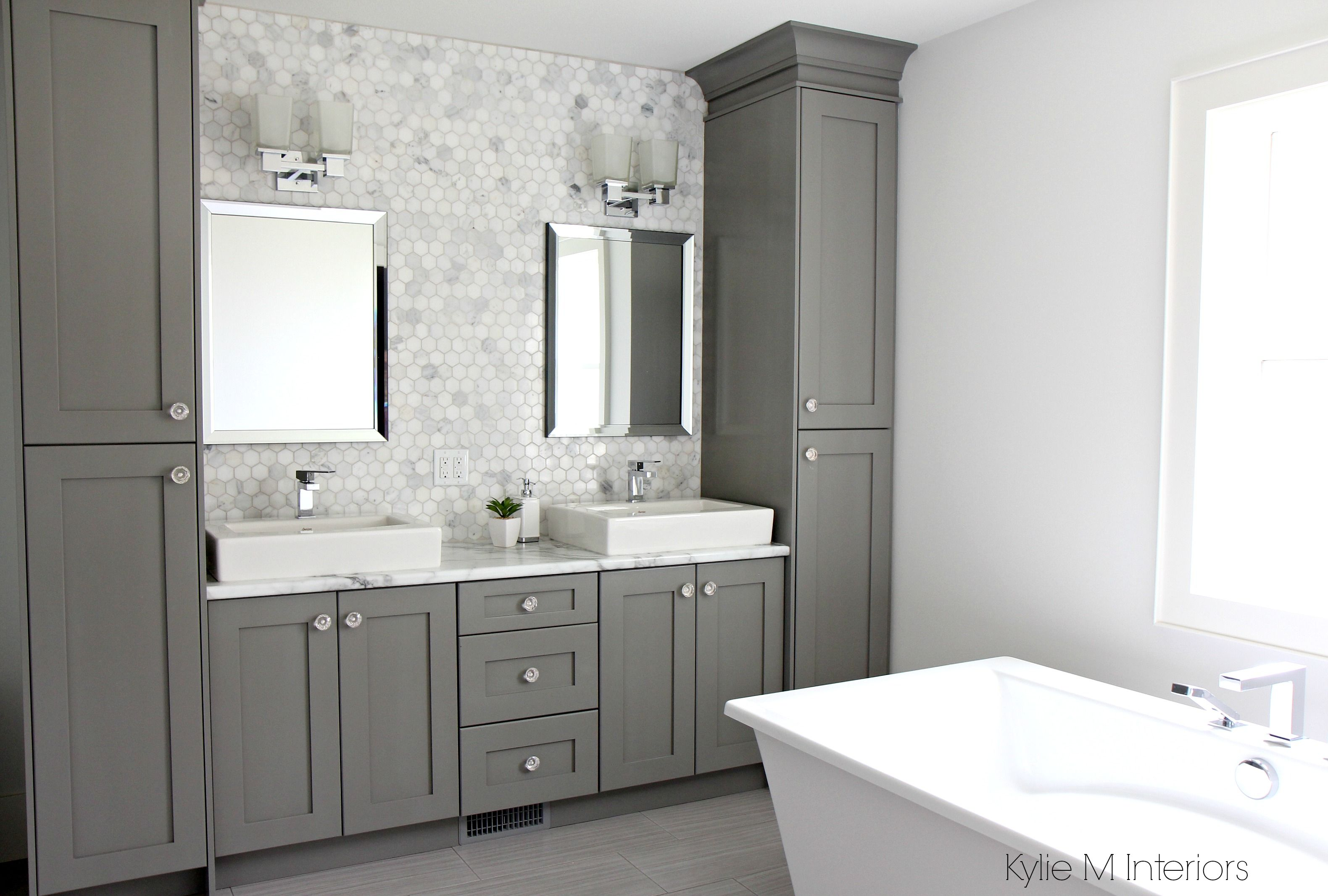 Double Vanity With Storage Towers Painted Chelsea Gray Free Standing Tub Marble Mosaic Bathroom Vanity Storage Bathroom Vanity Designs Bathroom Storage Tower