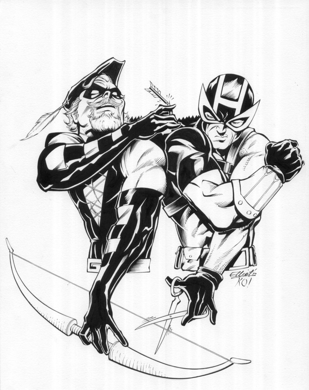 Green Arrow Vs Hawkeye By Tonykordos On Deviantart Green Arrow Black And White Comics Hawkeye