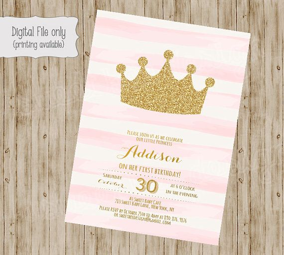 Princess Birthday Invitation Gold Glitter 1st 2nd 3rd Girls Pink White Watercolor