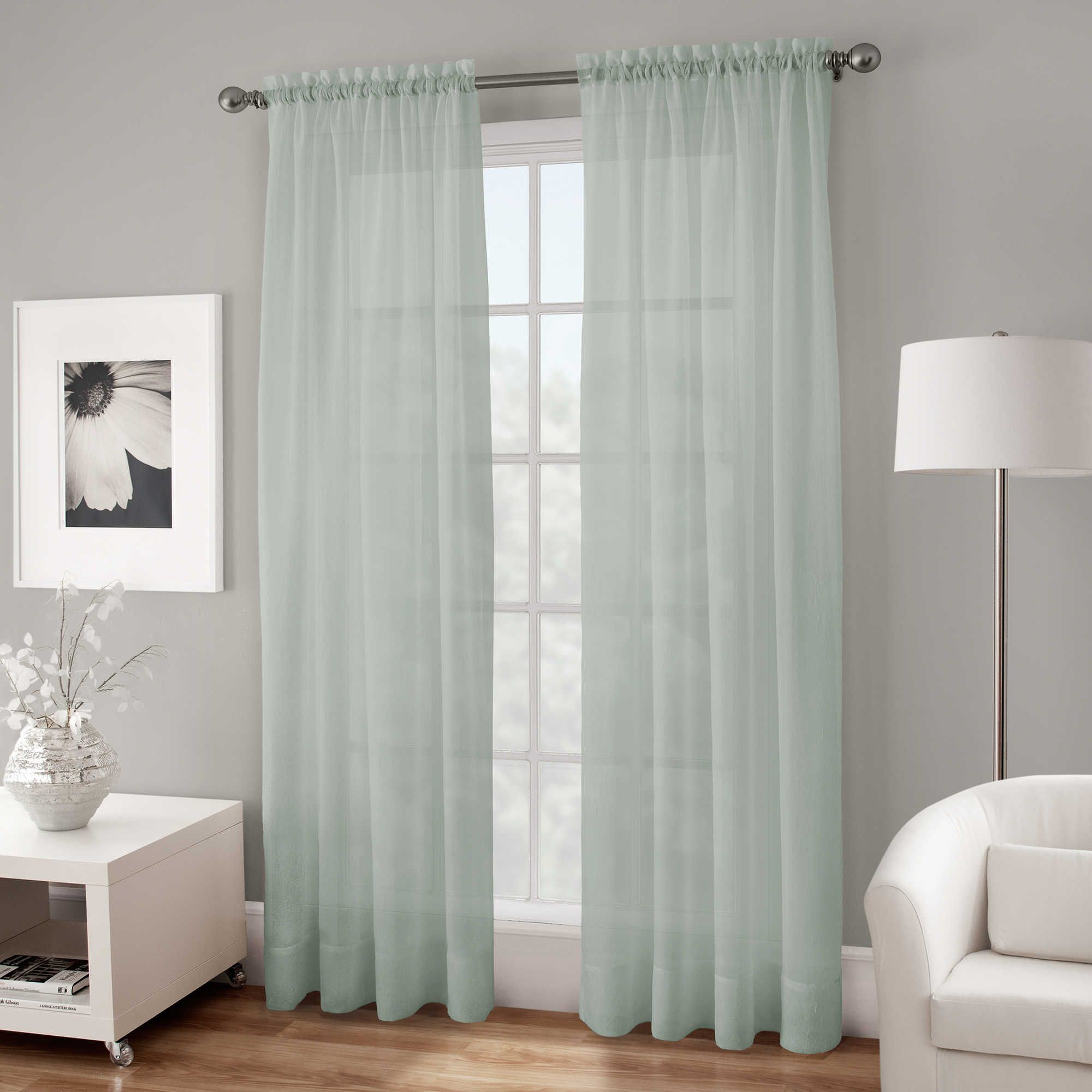 Sheer blue window curtains - Crushed Voile Sheer 144 Inch Rod Pocket Window Curtain Panel In Spa Blue