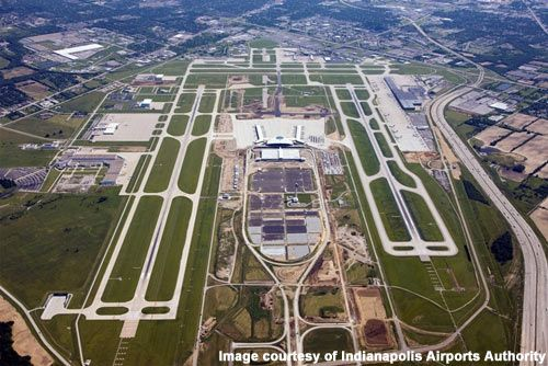 An aerial view of the new midfield terminal at