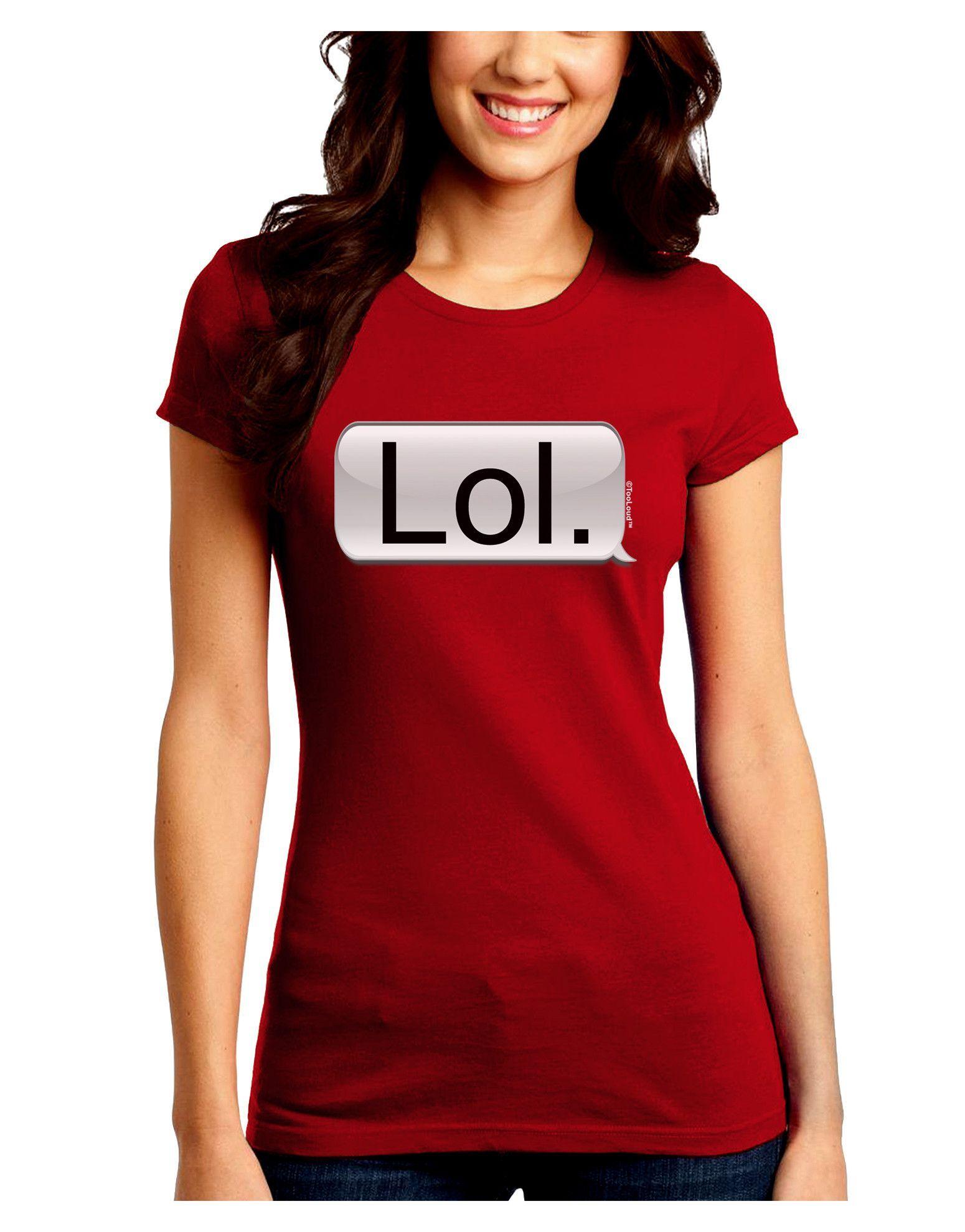 TooLoud Lol Text Bubble Juniors Petite Crew Dark T-Shirt