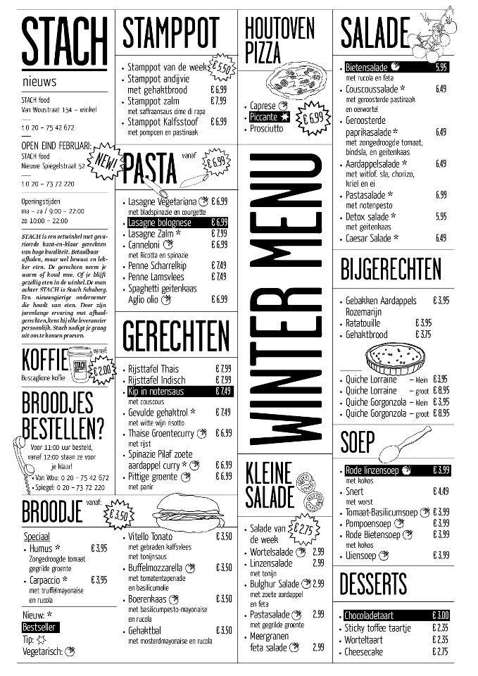 Stach Amsterdam Menukaarten Pastinaak Inspirerend