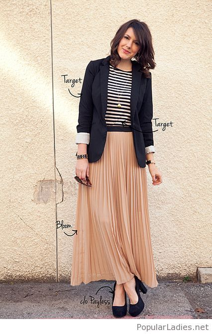 91f069deb Long nude skirt, tee and blazer | ropa | Faldas largas, Faldas y ...