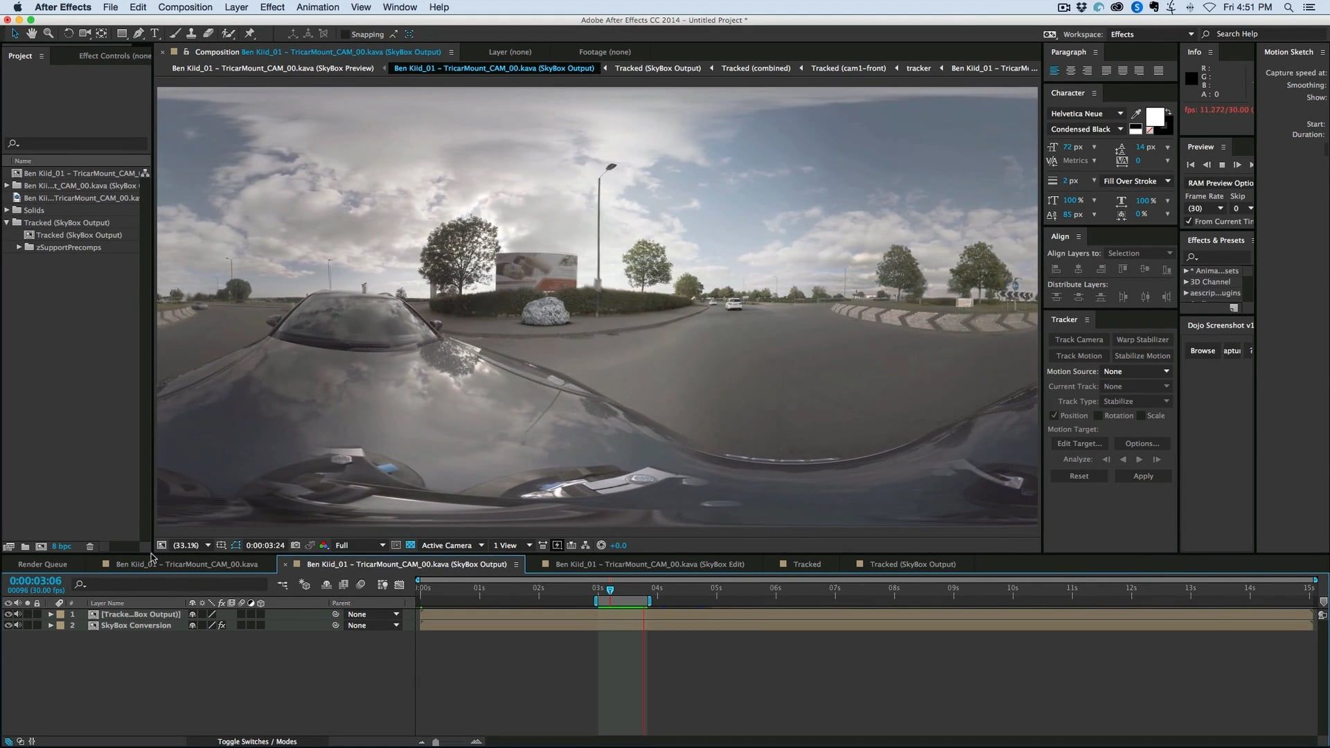 3d Camera Tracking 360 Footage In After Effects Skybox Studio