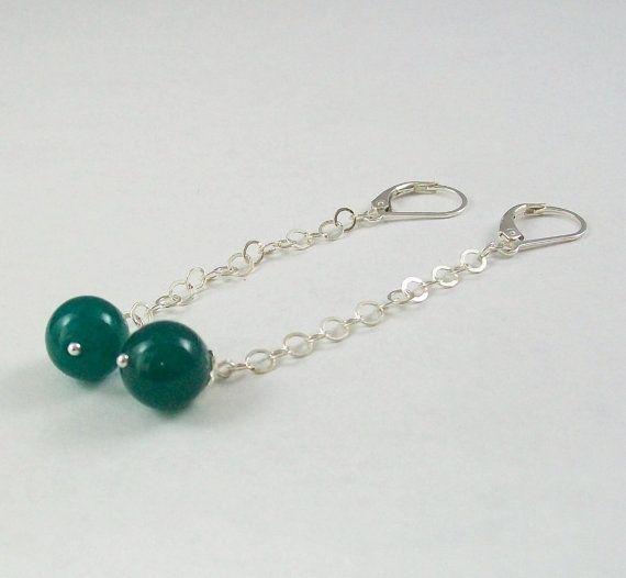 Keani Dark Green Jade Earrings by KatsJewelryBox on Etsy, $22.00