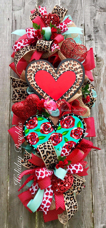 Valentines Day Wreath Valentines Day Teardrop Swag Valentines
