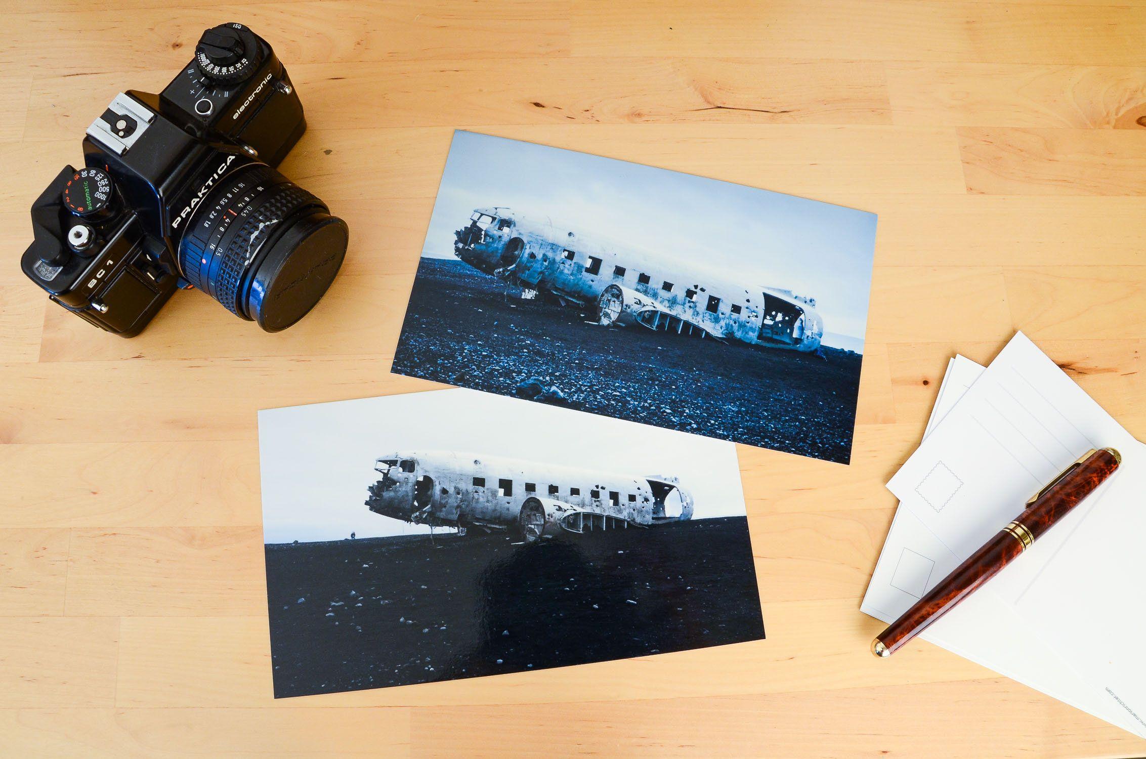 Karte Island Flugzeugwrack.2er Set Island Flugzeugwrack Lost Place Postkarten Xxl