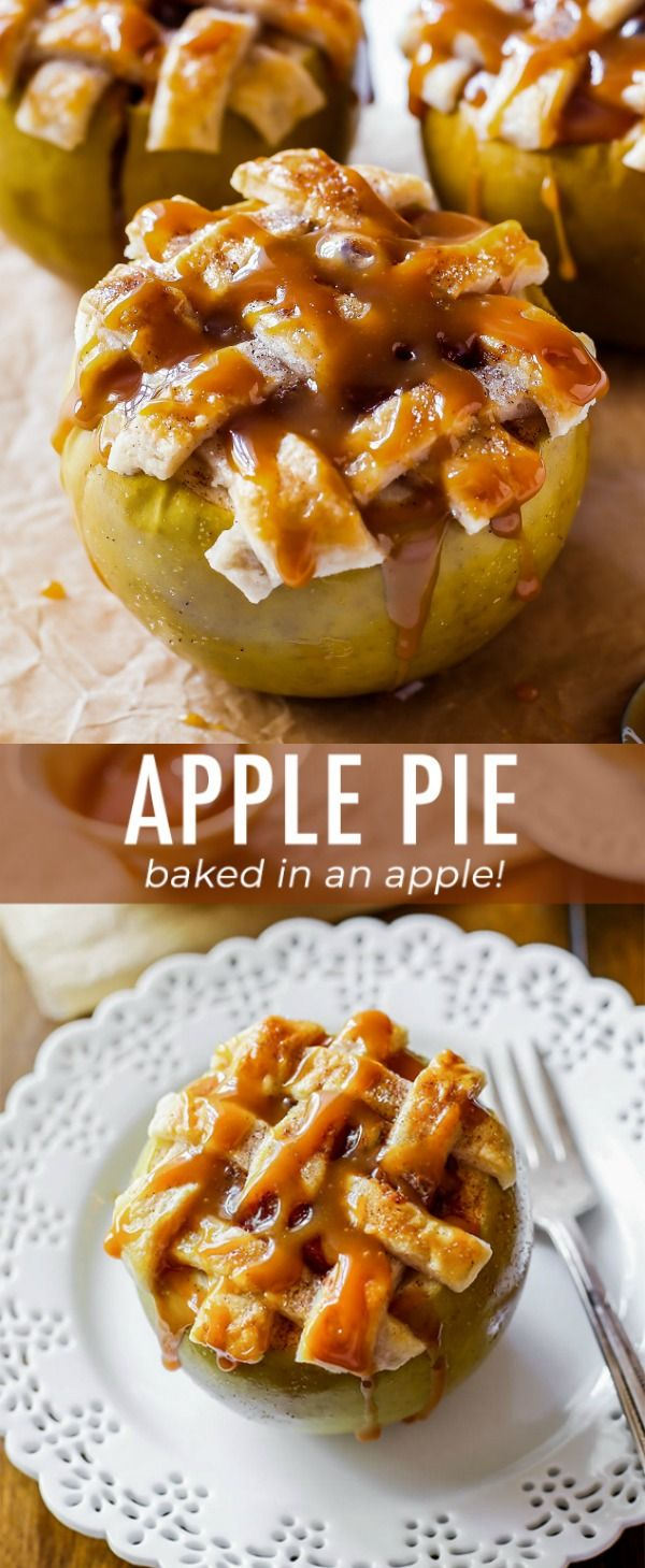 Apple pie baked inside an apple! Topped with buttery lattice pie crust and salted caramel sauce. Easy apple pie recipe on sallysbakingaddiction.com #applepie