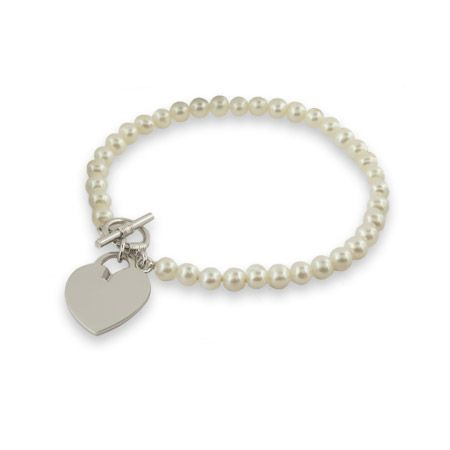Tiffany Inspired Freshwater Pearl Sterling Silver Heart Tag Bracelet