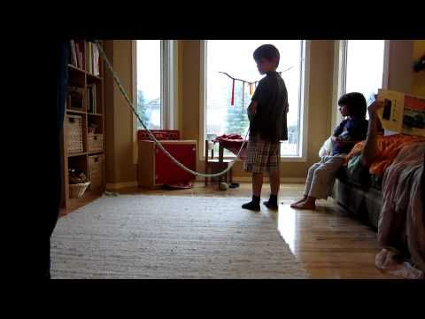 "Love this video on ""How to Make a Magic Rope"".  Check out the Dad reading on the couch.  LOL!"