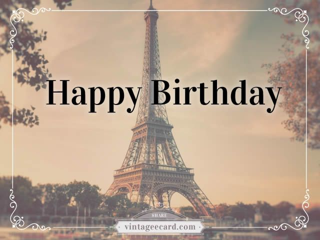happy birthday paris vintage ecard happy birthday