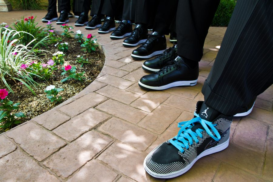 Groomsmen Wearing Their Jordans Match Tuxes To Gray On Shoes