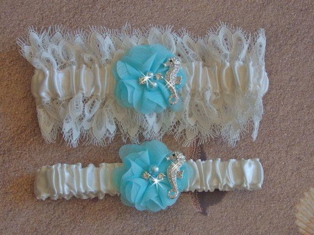 Beach Wedding Garter With Rhinestone Seahorse Venice Lace Bridal Set Destination