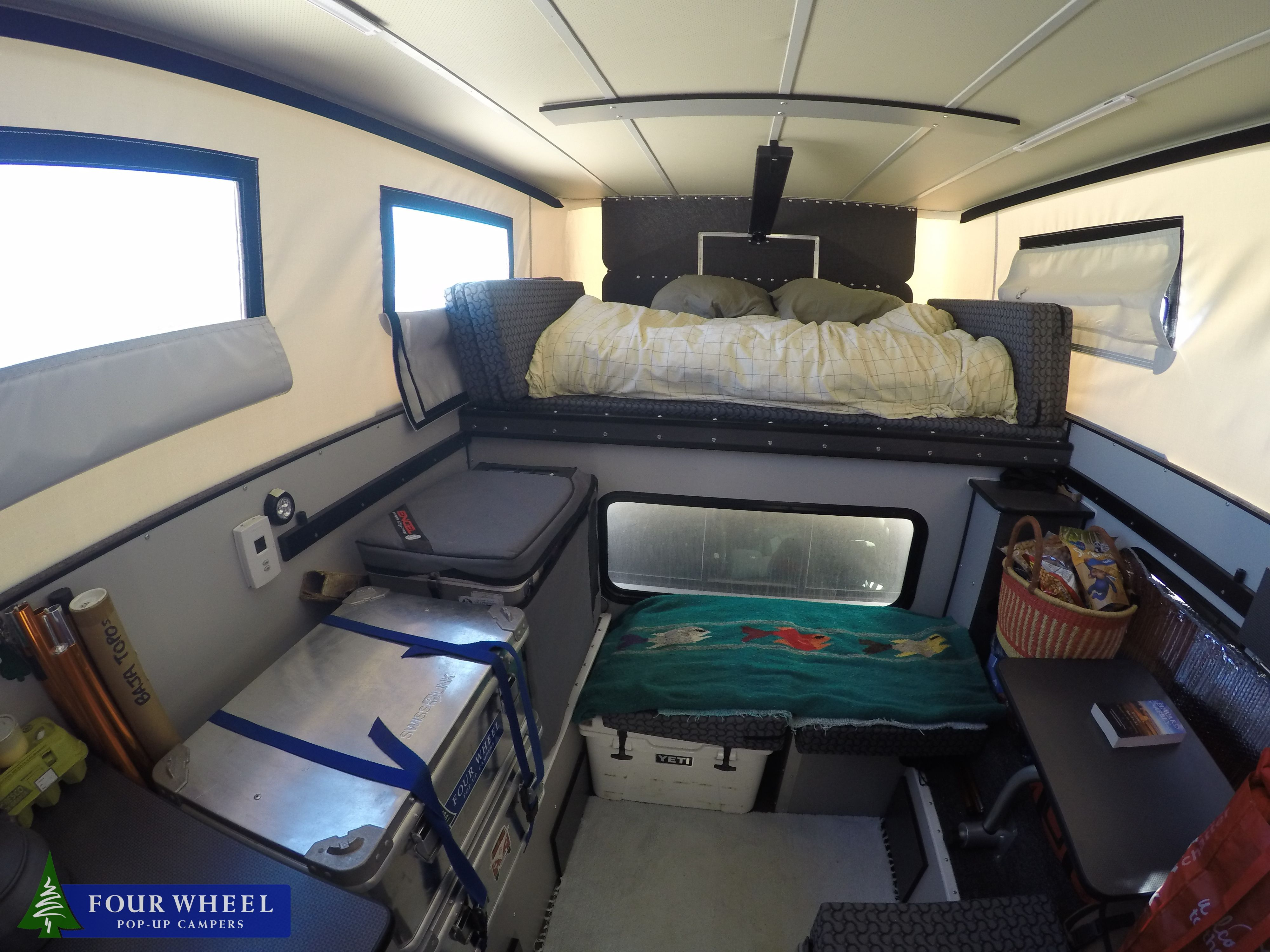 Didnt Know It Can Be So Cozy Inside A Pick Up Truck Camper Overlandcampers Popuptruckcampers Pickuptruck Pop Up Truck Campers Truck Camper Camper Interior