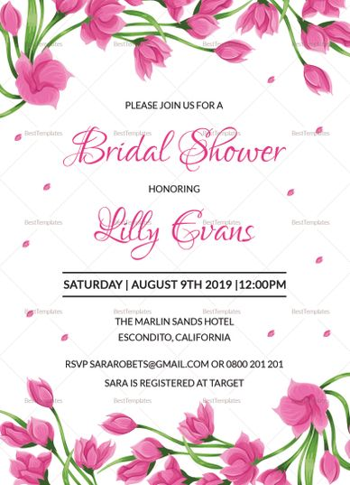 Invitation Template Word Impressive Pink Floral Bridal Shower Invitation Template  Wedding Invitation .