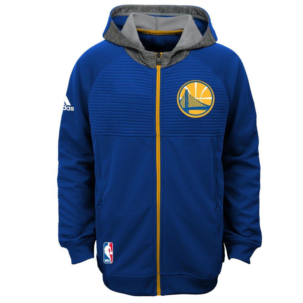 Youth Golden State Warriors adidas Royal Pregame Full-Zip Hoodie Jacket