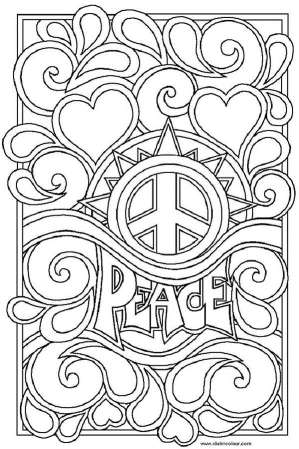 peace sign coloring pages for adults color Pinterest Peace - new love heart coloring pages to print
