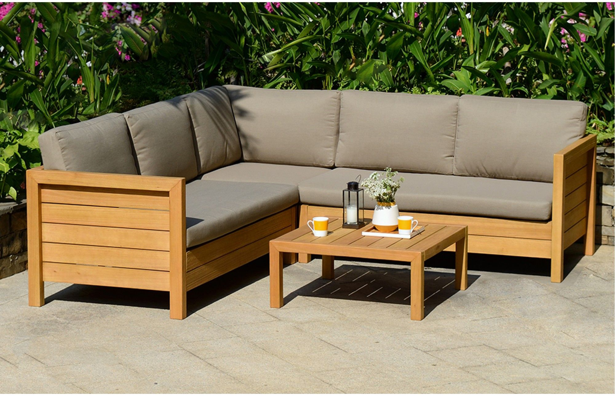 This Lodge Garden Set Comes In A Beautiful Teak Look Finish Giving This Elegantly Simple Set A Modern Twist Garden Sofa Set Sofa Home Sitting Room Decor