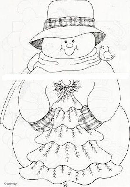 Dibujos y Plantillas para imprimir Muecos de Nieve  Patchwork
