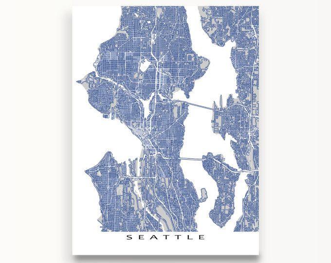 Seattle Map Seattle Art Print Washington City Street Map Arctic