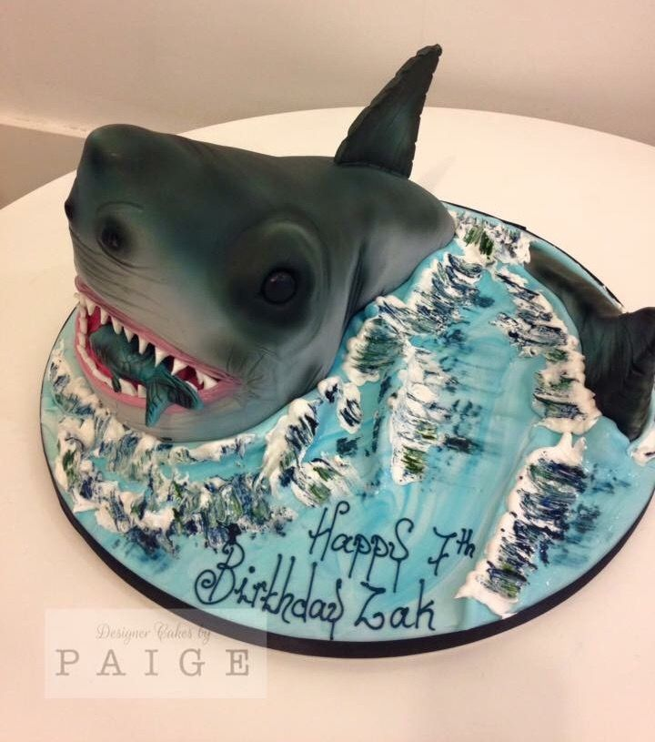 Awesome 3d shark cake with fish and royal icing waves