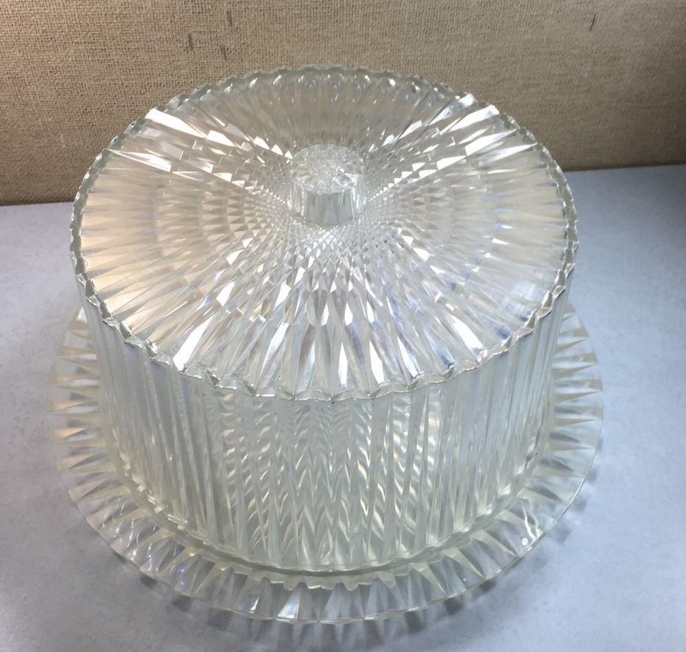 Vintage Midcentury 50\'s Diamond Faceted Acrylic Plastic Cake Plate ...
